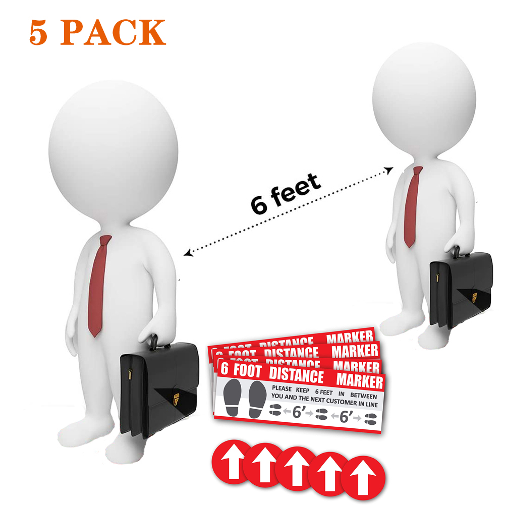 Floor Decals Social Distancing Keep 6ft in Between Distance Marker Floor Decal for Social Distancing While in Line 5pcs