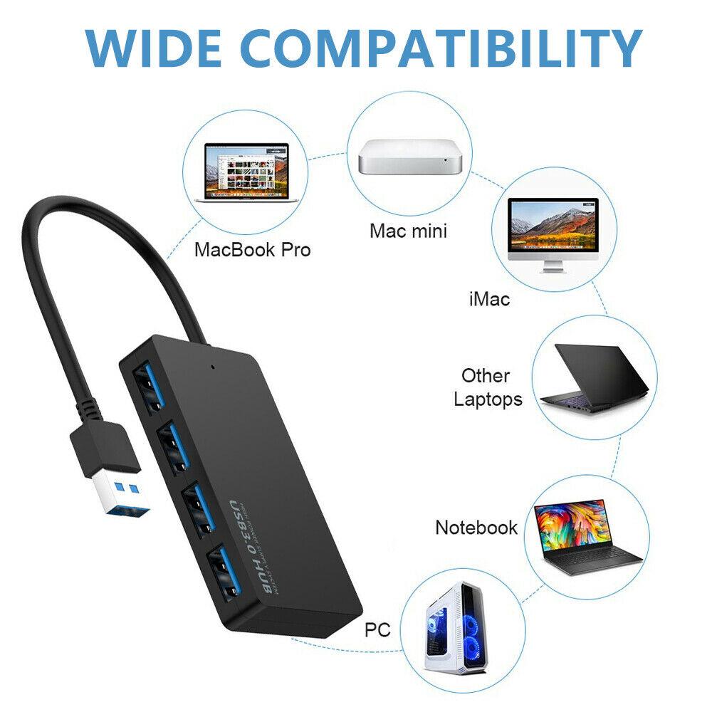 4-port Usb 3.0 Hub Splitter Adapter For Laptop Super High-speed Data Hub Black