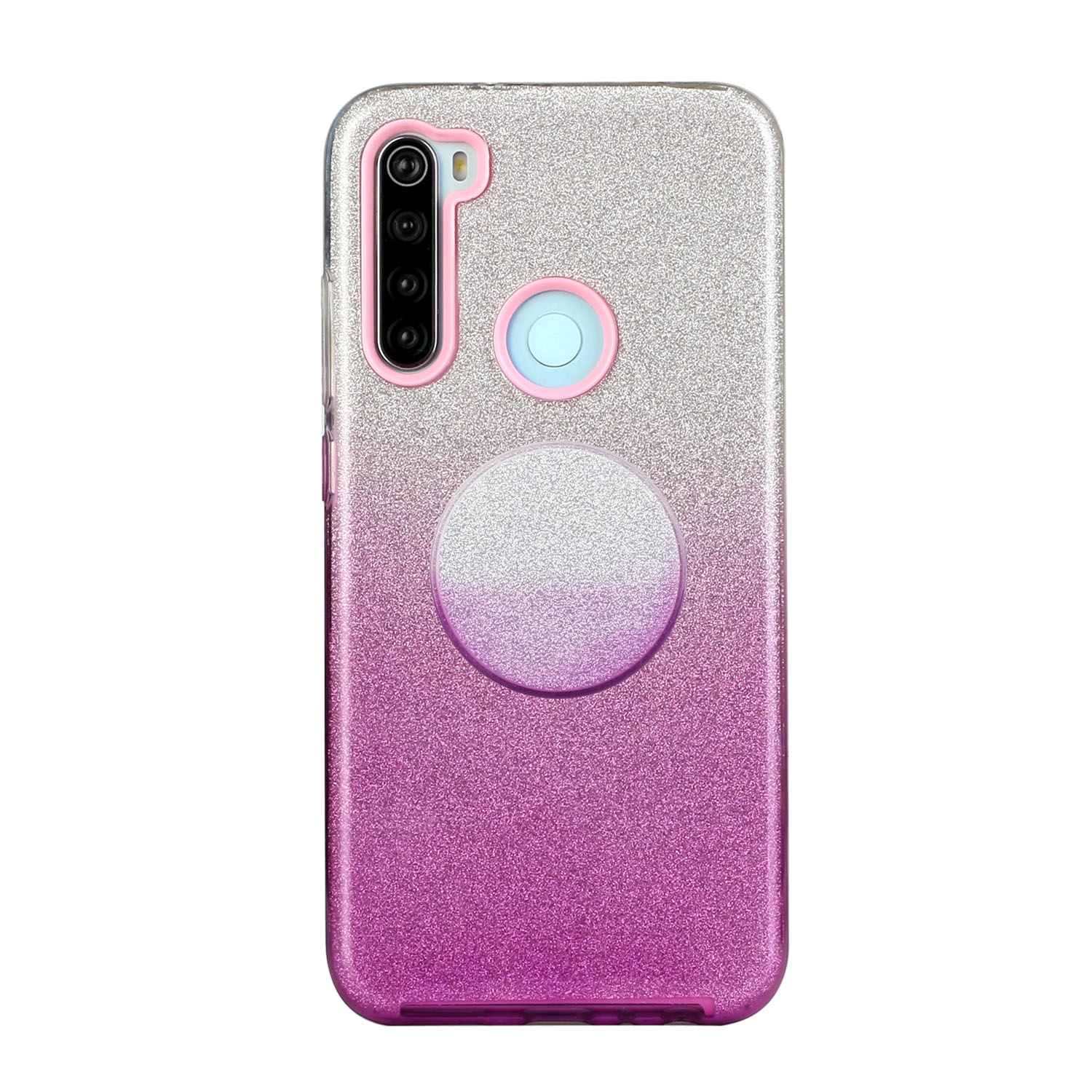 For Redmi Note 7/Note 7 pro/Note 8/Note 8 pro/8/8A Phone Case Gradient Color Glitter Powder Phone Cover with Airbag Bracket purple