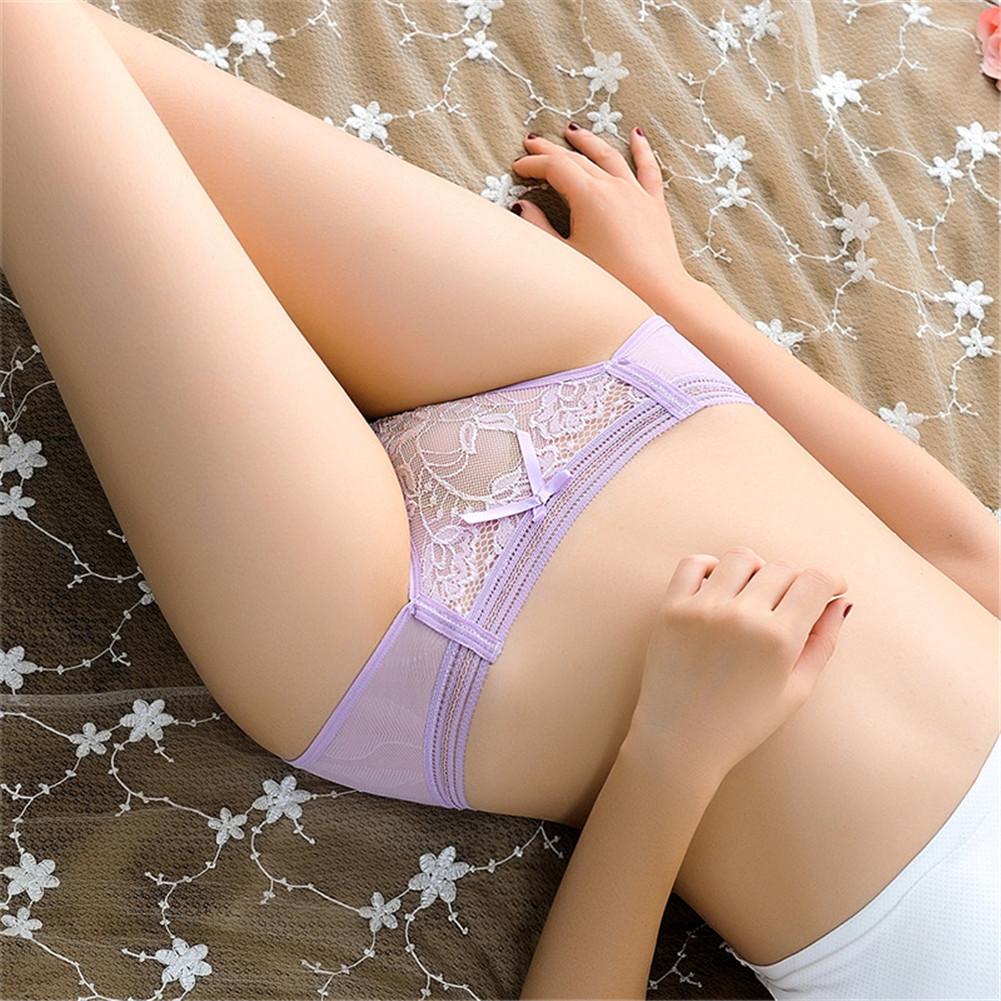 Women's Underpants Cotton Low-waist Seamless Cotton  Crotch Sexy  Briefs #Light purple