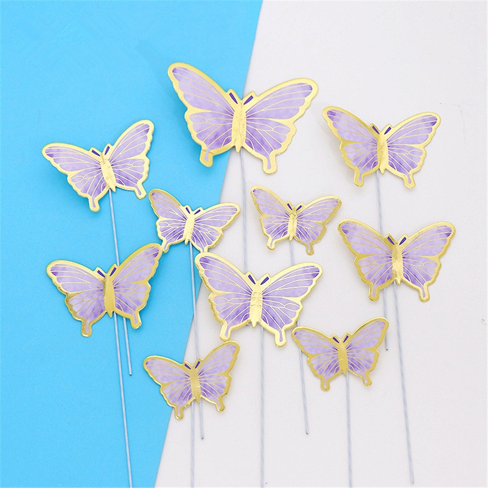 Cardboard Bronzing Cake  Decoration Butterfly Party Decorative Ornaments CP-659 purple