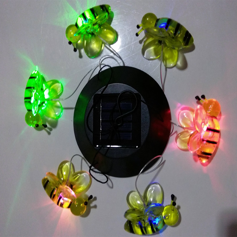 Solar LED Light Color Changing Wind Chimes Bee Pendant Bell Yard Garden Home Decor