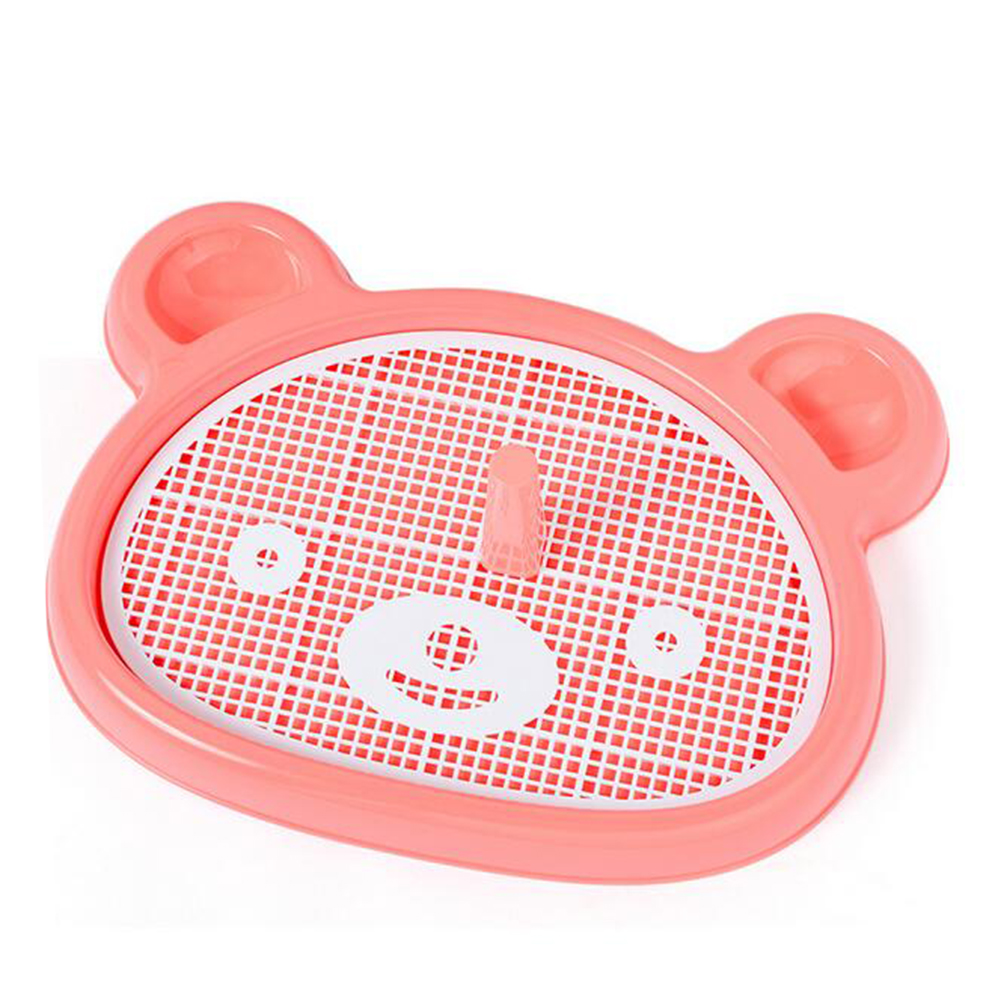 Portable Pet Bear-shape Dog Toilet Tray with Column Urinal Bowl Pee Training Toilet  red
