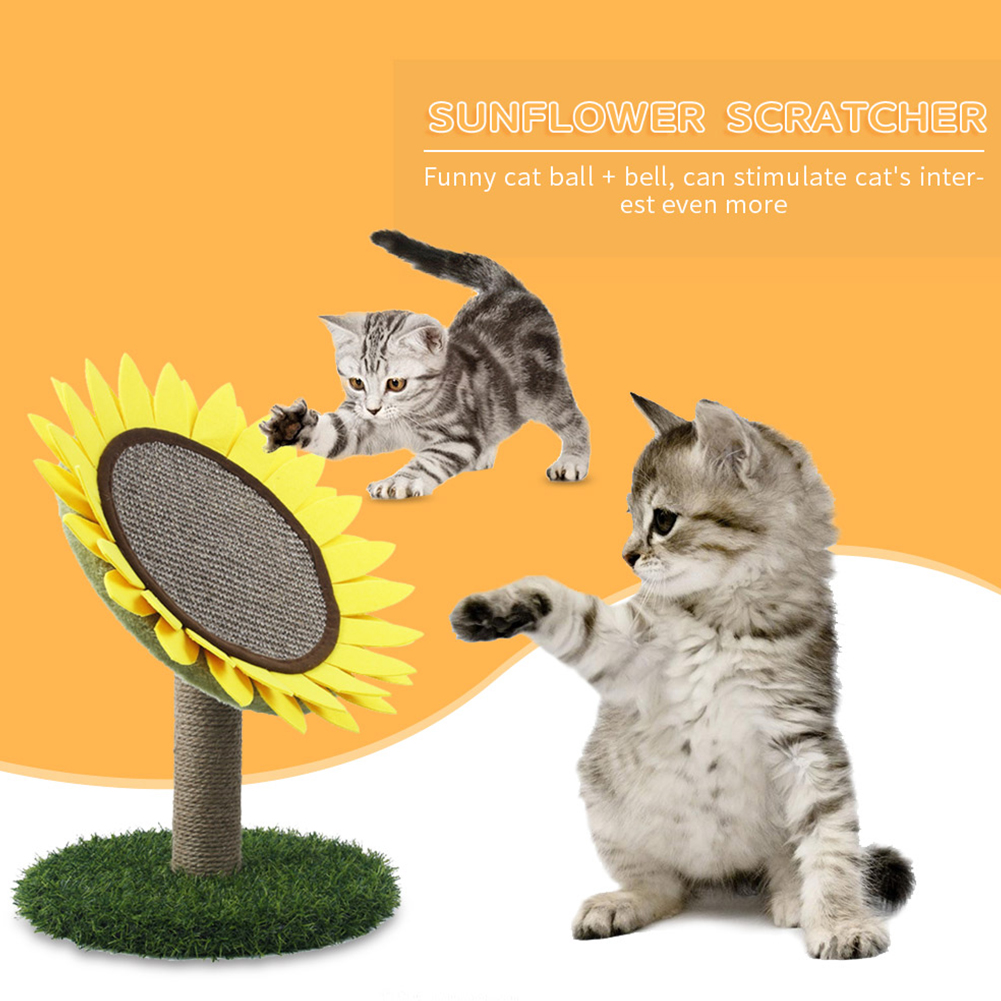 Cat  Scratching  Toys Sisal Sunflower-shaped Wear-resistant Small Cat Chewing Teaser Playing Toys For Cat Sunflower scratcher