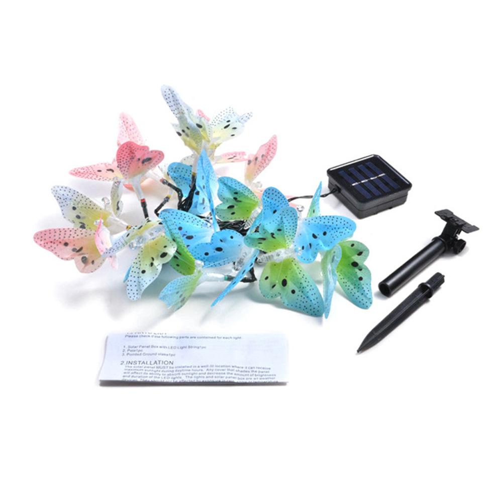 Butterfly-shaped Waterproof  Light  String Solar Optical Fiber Powered Led Light Strip 12led