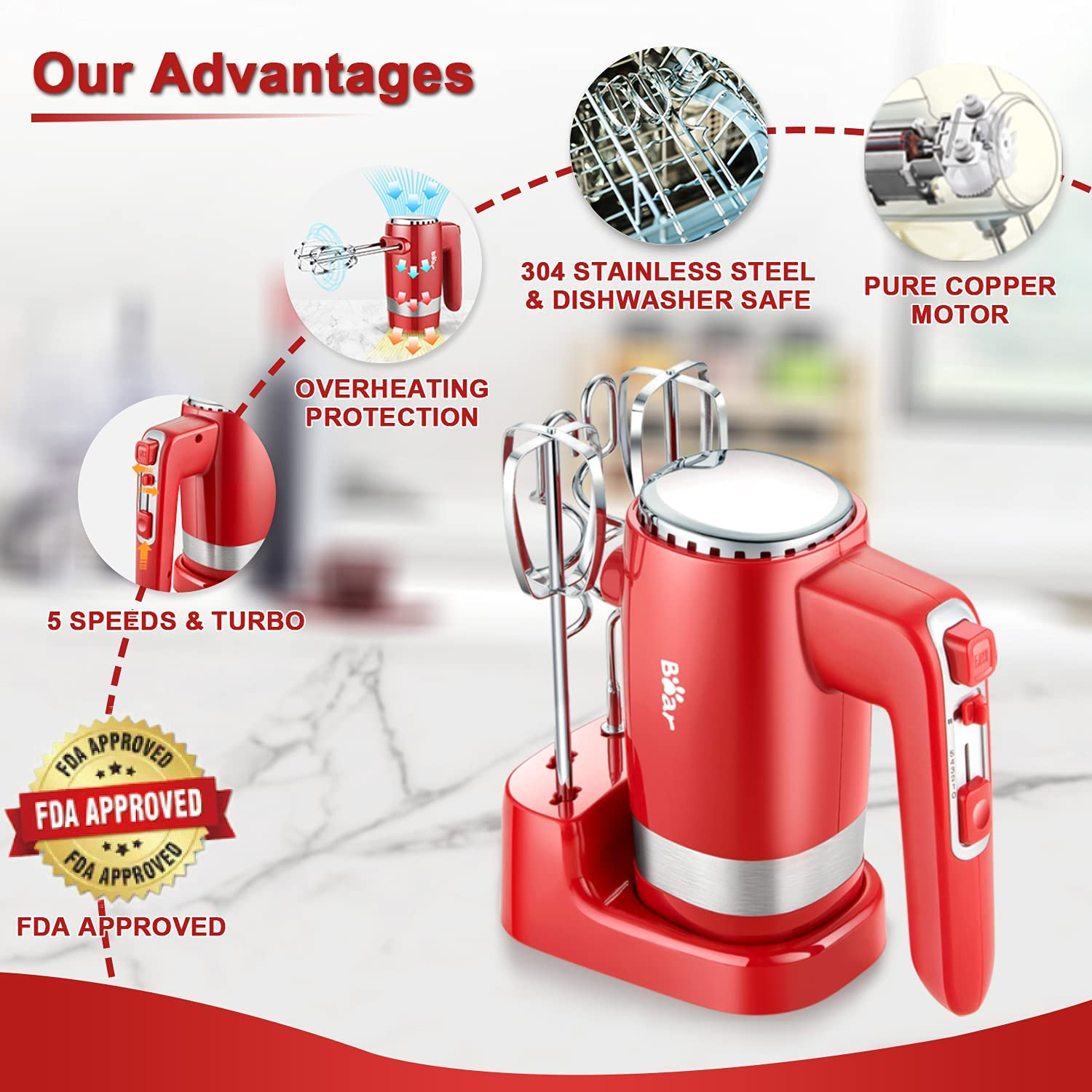[US Direct] Hand Mixer Electric, Bear 2x5 Speed 300W Electric Hand Mixer with 4 Stainless Steel Accessories Storage Base Eject Button Power Advantage Red Hand Mixer for Easy Whipping Dough, Cream, Cake, Cookies  24*17*20