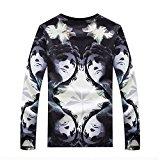 [US Direct] Men's Fashion Slim Face Print Long Sleeve T-shirt Black-White XL equal to American M