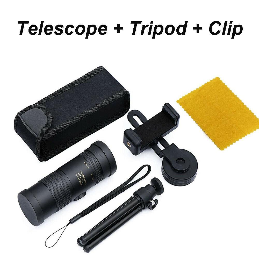 Portable Monocular Telescope Super Telephoto Zoom 10-300X40mm  Tripod Clip Night Vision Telescope + mobile phone holder + tripod