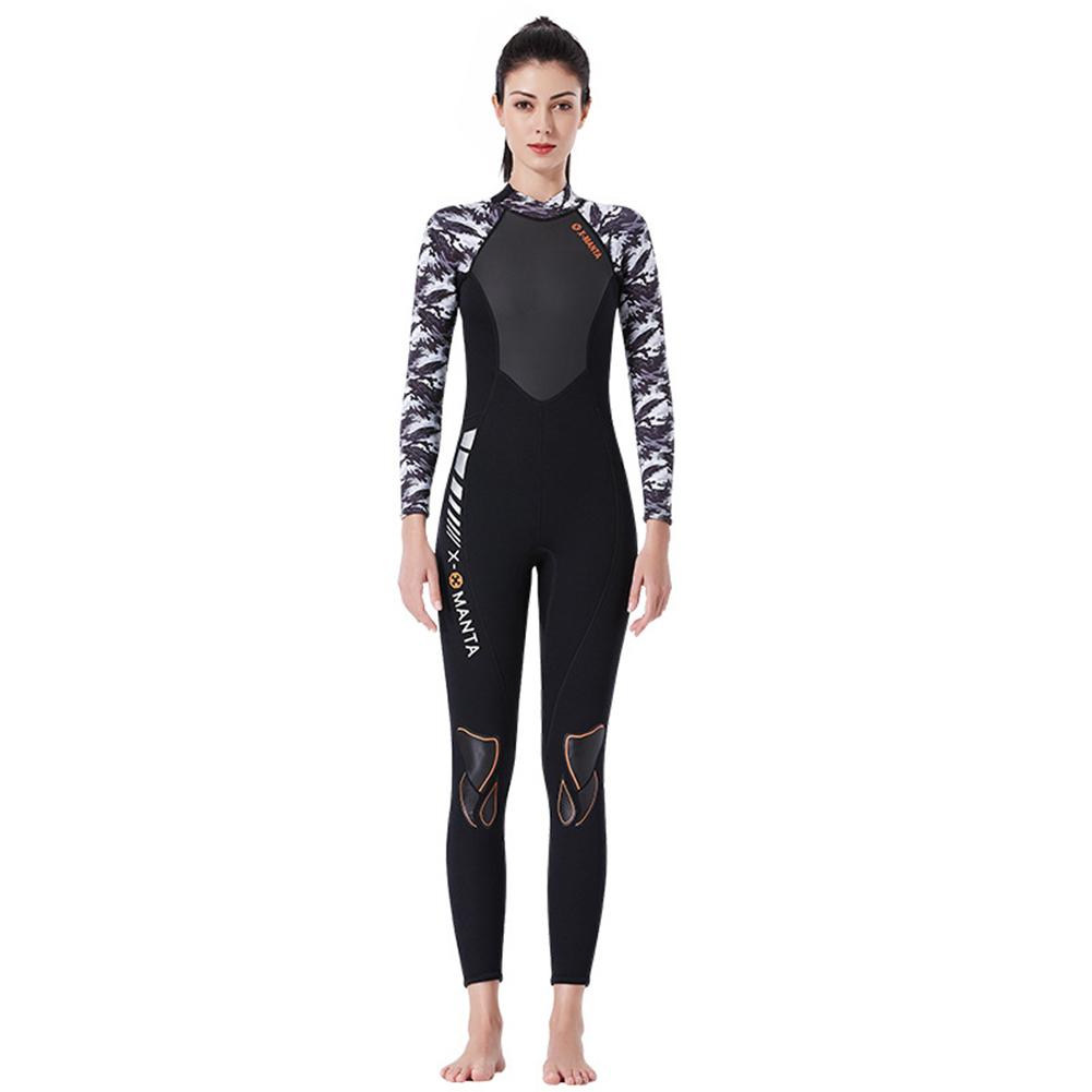 Diving Suit for Men 1.5MM Siamese Warm Jellyfish Suit Sun Block Female Ourdoor Long Sleeve Swimwear 1.5MM female black/white_XL