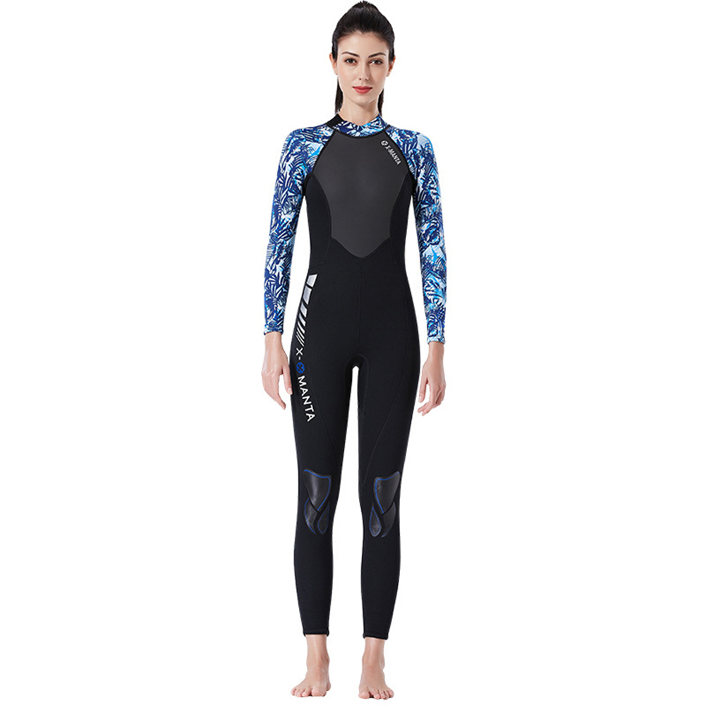 Diving Suit for Men 1.5MM Siamese Warm Jellyfish Suit Sun Block Female Ourdoor Long Sleeve Swimwear 1.5MM female blue/white_L