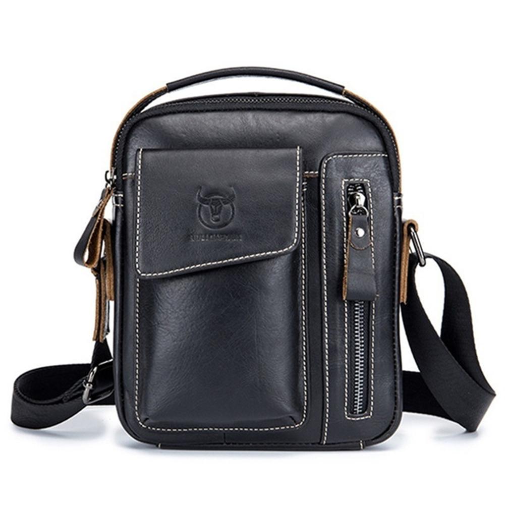 Men's Crossbody Pack Solid Color Sports Leisure Leathe Shoulder Bag black