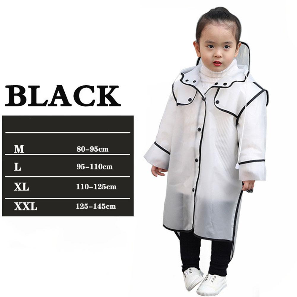 Baby Children's Raincoat Long Hooded Transparent Poncho EVA Waterproof Coat for Students'Outdoor Travel black_XXL