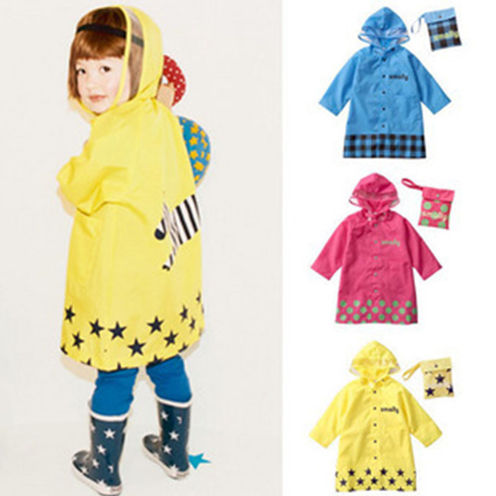 Cute Cartoon Pattern Children Rain Coat Baby Rainwear Rainsuit rose red_M code