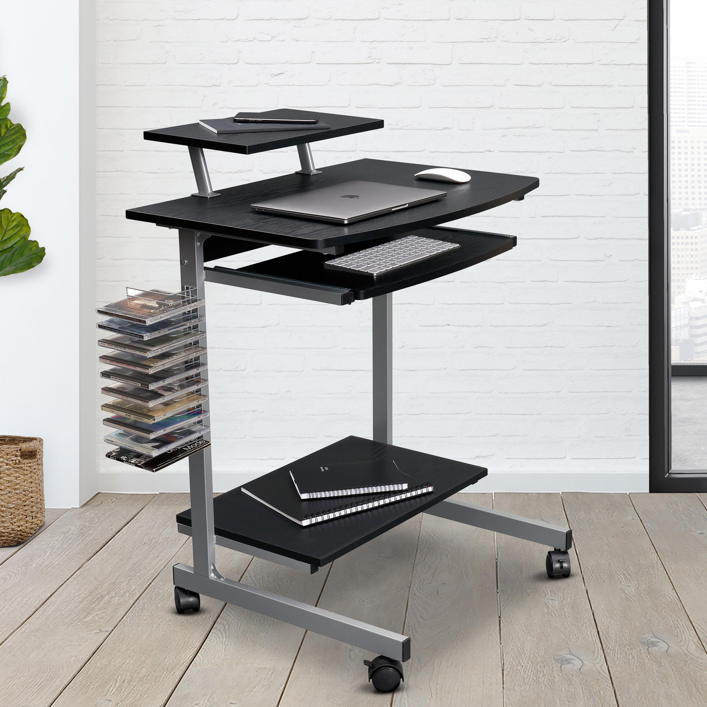 [US Direct] Techni Mobili Compact Computer Cart With Storage, Espresso