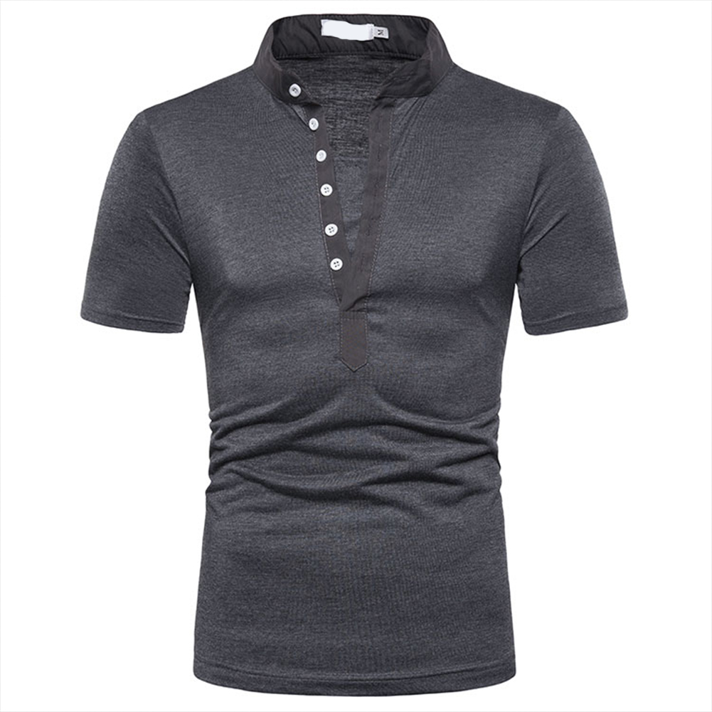 Fashion Men Slim Fit V Neck Short Sleeve Muscle Tee T-shirt  Dark gray_L