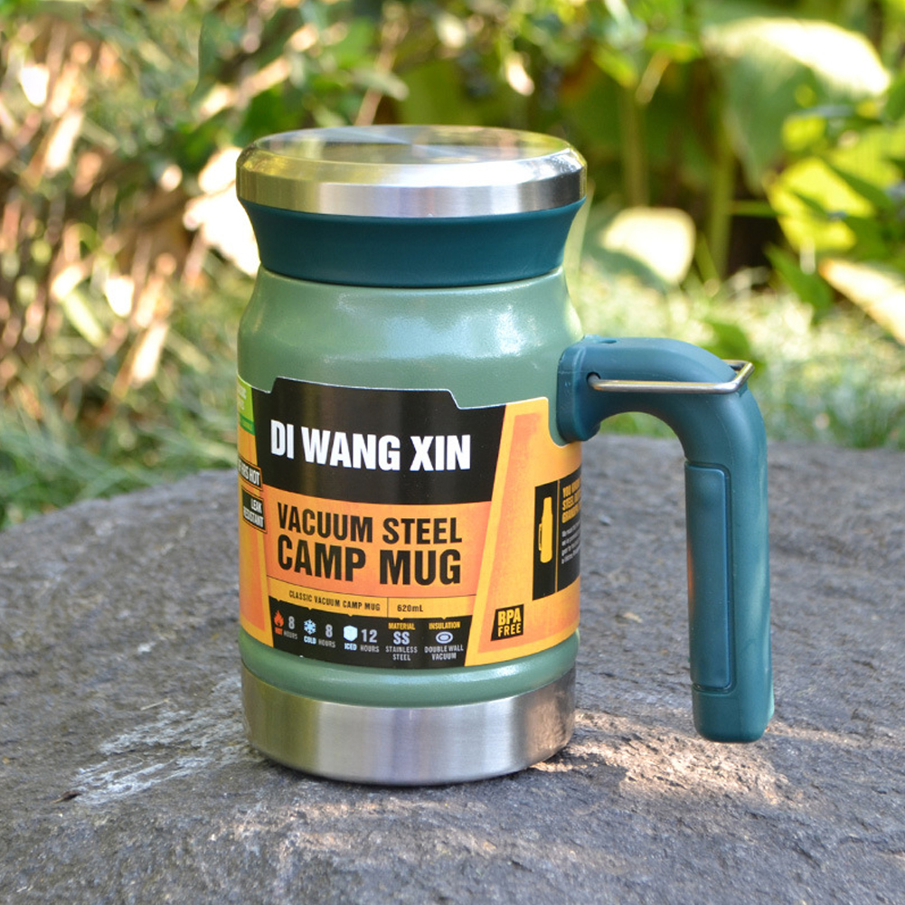 Outdoors Stainless Steel Vacuum Cup Tea Cup Office Double Layers Filter Mug with Handle ArmyGreen
