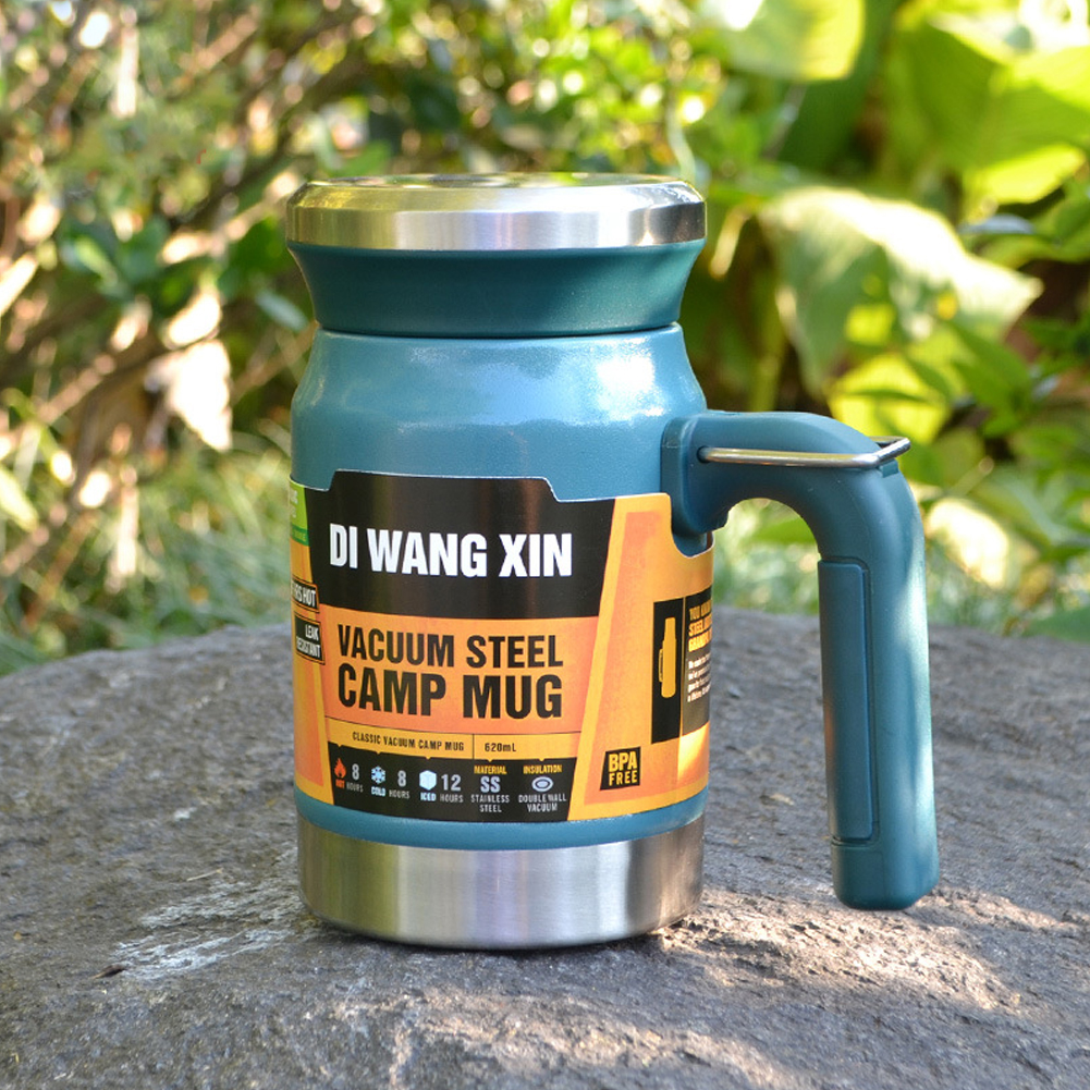 Outdoors Stainless Steel Vacuum Cup Tea Cup Office Double Layers Filter Mug with Handle Lake Blue
