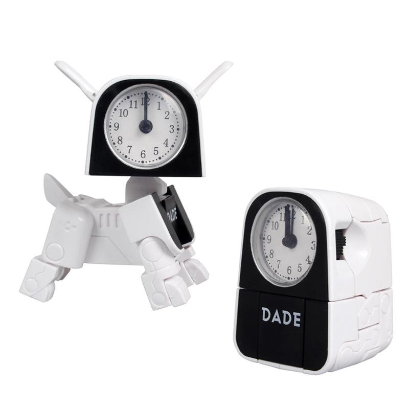 Electronic Alarm Clock Multifunctional Cute Dog Robot Electronic Alarm Clock white