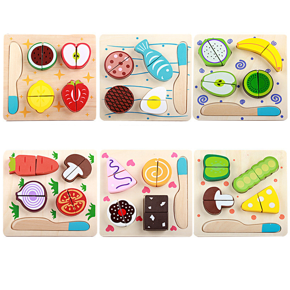 Wooden  Plane Cutting Borad For Vegetables Fruits Magic Sticker Early Education 3d  Puzzle Beads Play House Toy Fish