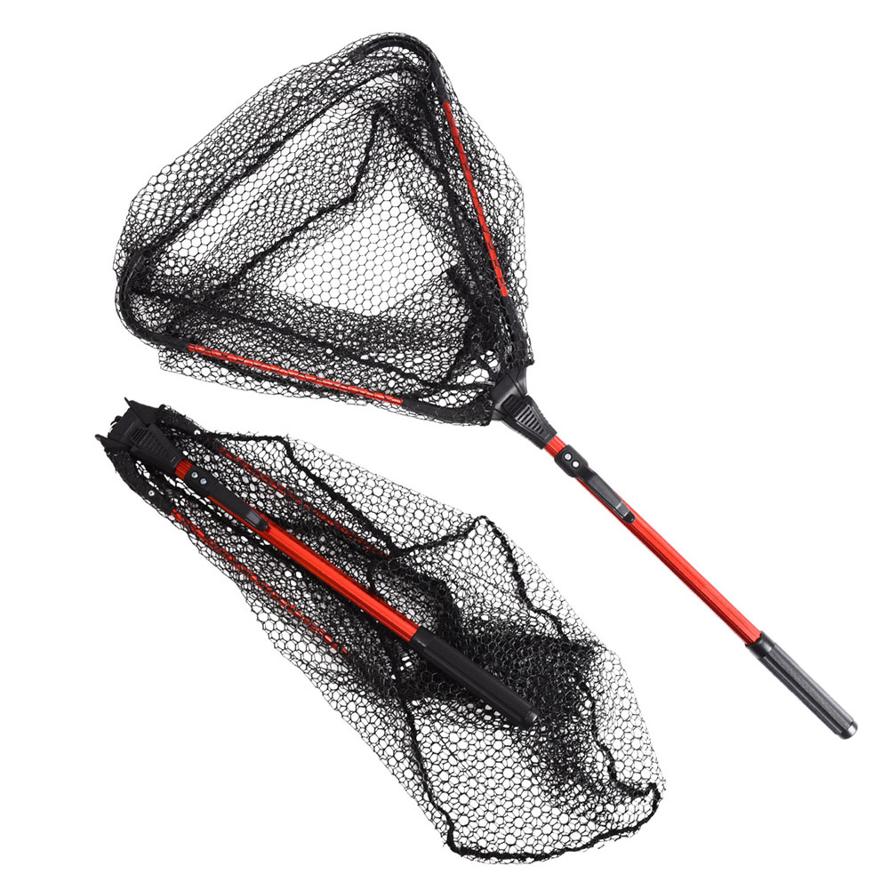 Aluminum Alloy 80cm Retractable Fishing Net Telescoping Foldable Landing Net Pole Folding Landing Net For Fly Fishing Red oxidation