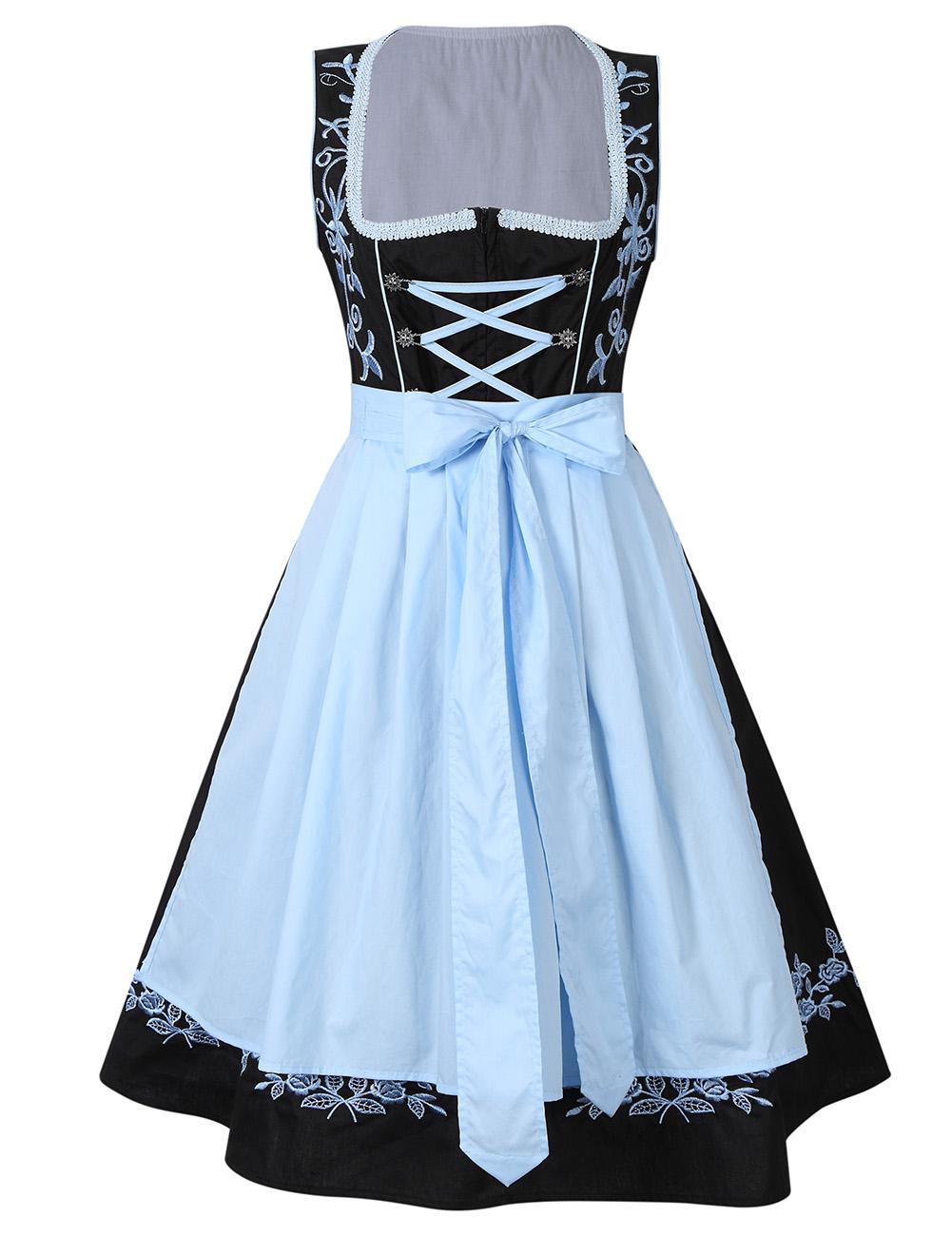 Kojooin Women 2 Pcs Costumes Embroidery Oktoberfest Dirndl Dress Black_Thirty-four
