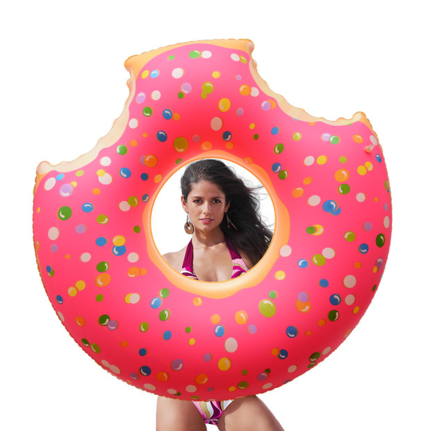 [US Direct] Inflatable Giant Donut Swimming Pool Floats with Two-Bite for All Ages Swim Ring