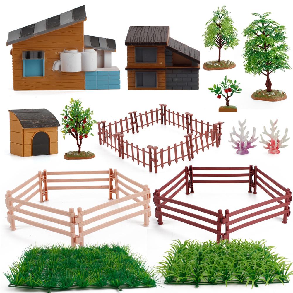 1set Of Desktop Scene Decorations Simulation Micro-landscape Farm Model Decoration House tree set