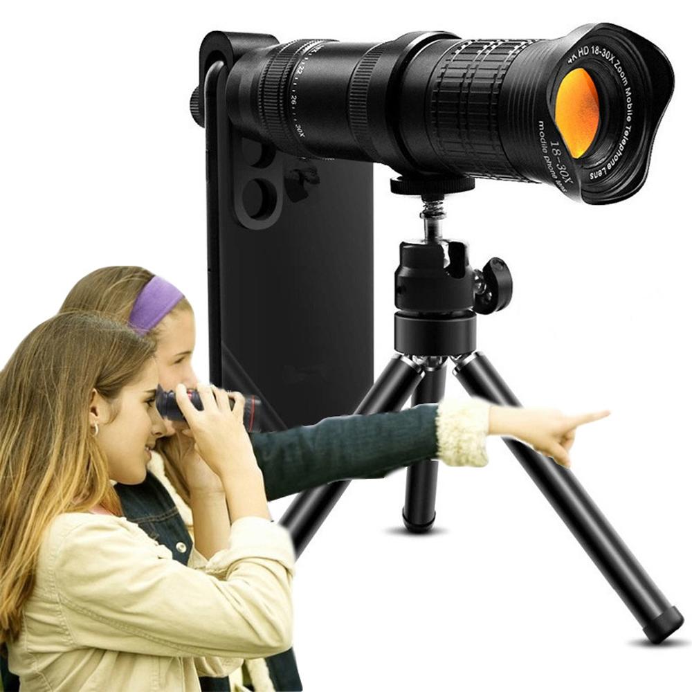 18-30X Zoom HD Mobile Phone Zoom Lens Dual Focus No Black Edge Telephoto Telescope Mobile Phone Lens black