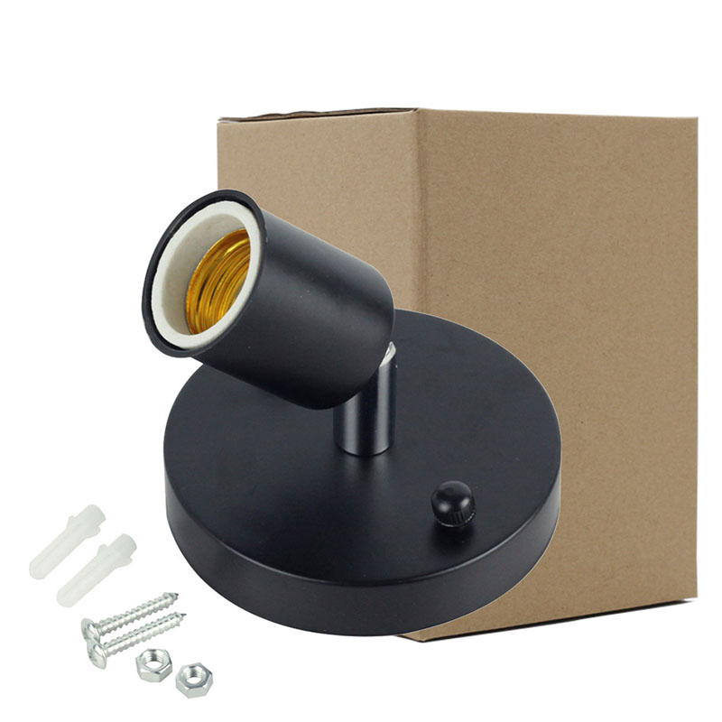 Universal E27 Retro 180 Degree Turn Light Holder High Temperature Resistant Metal Lamp Base Black (carton packaging)