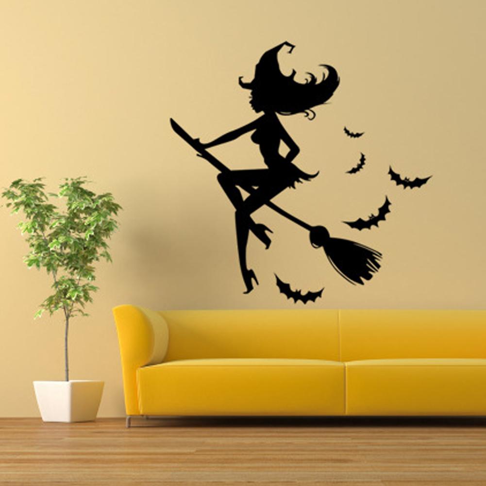 Halloween Wall Sticker Bat Witch Broom Wall Decoration