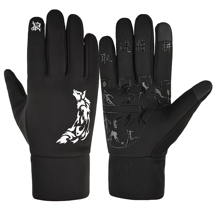 Touch Screen Gloves Winter Waterproof Warm Keeping Cold Proof Windproof Thickening Riding Outdoor Ski Gloves Wolf pattern_L