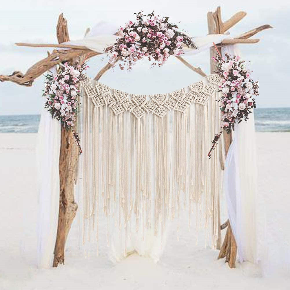 Cotton Thread Weaving Hanging Tapestry for Bohemian Style Wall Wedding Living Room Bedroom Decor 135*115cm