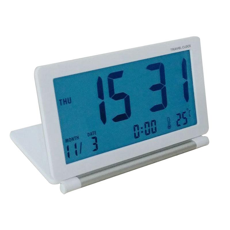 LED Ultrathin Mini Portable Travel Clamshell Digital Table Alarm Clock with Night Lamp