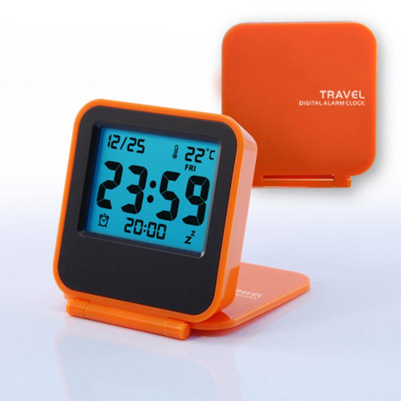 Mini Portable Travel Clamshell Electronic Night Lamp LED Digital Desk Alarm Clock