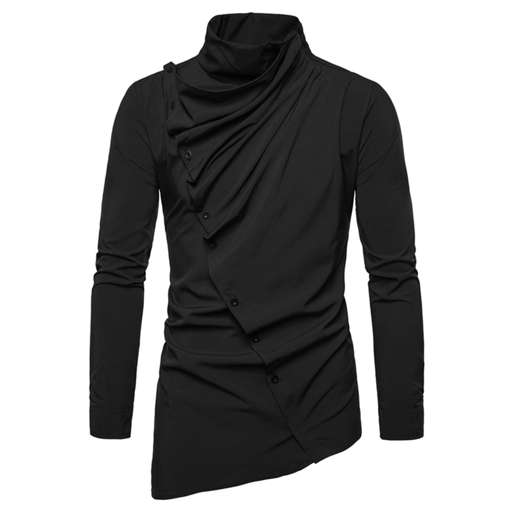 Men's Shirt Asymmetric Oblique Placket Stand-up Collar Long-sleeved Shirt Black _L