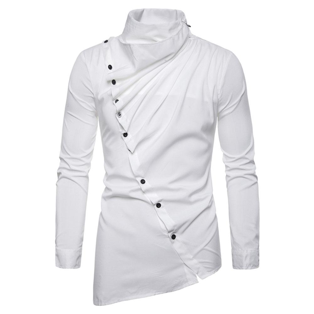 Men's Shirt Asymmetric Oblique Placket Stand-up Collar Long-sleeved Shirt White _L