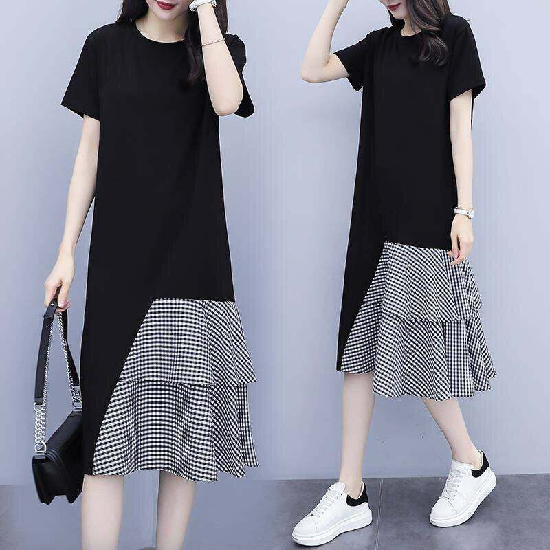 Women Lady Casual New Large Size Dress Korean Version Short-sleeve Long T-shirt Fake Two Pieces Irregular Dress black_M