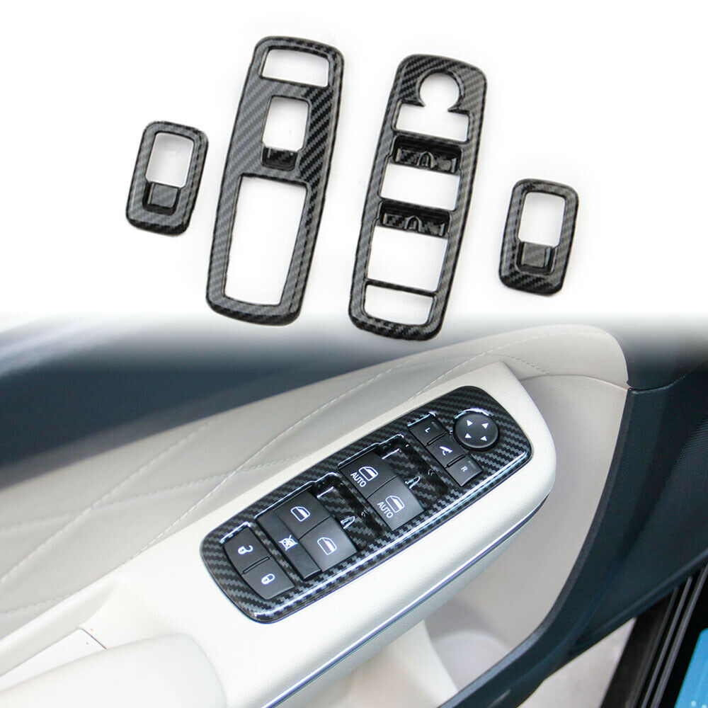 4pcs/set Window Switch Carbon  Fiber  Grain Panel For Chrysler 300 2015-2021 Chrysler 300 Carbon black