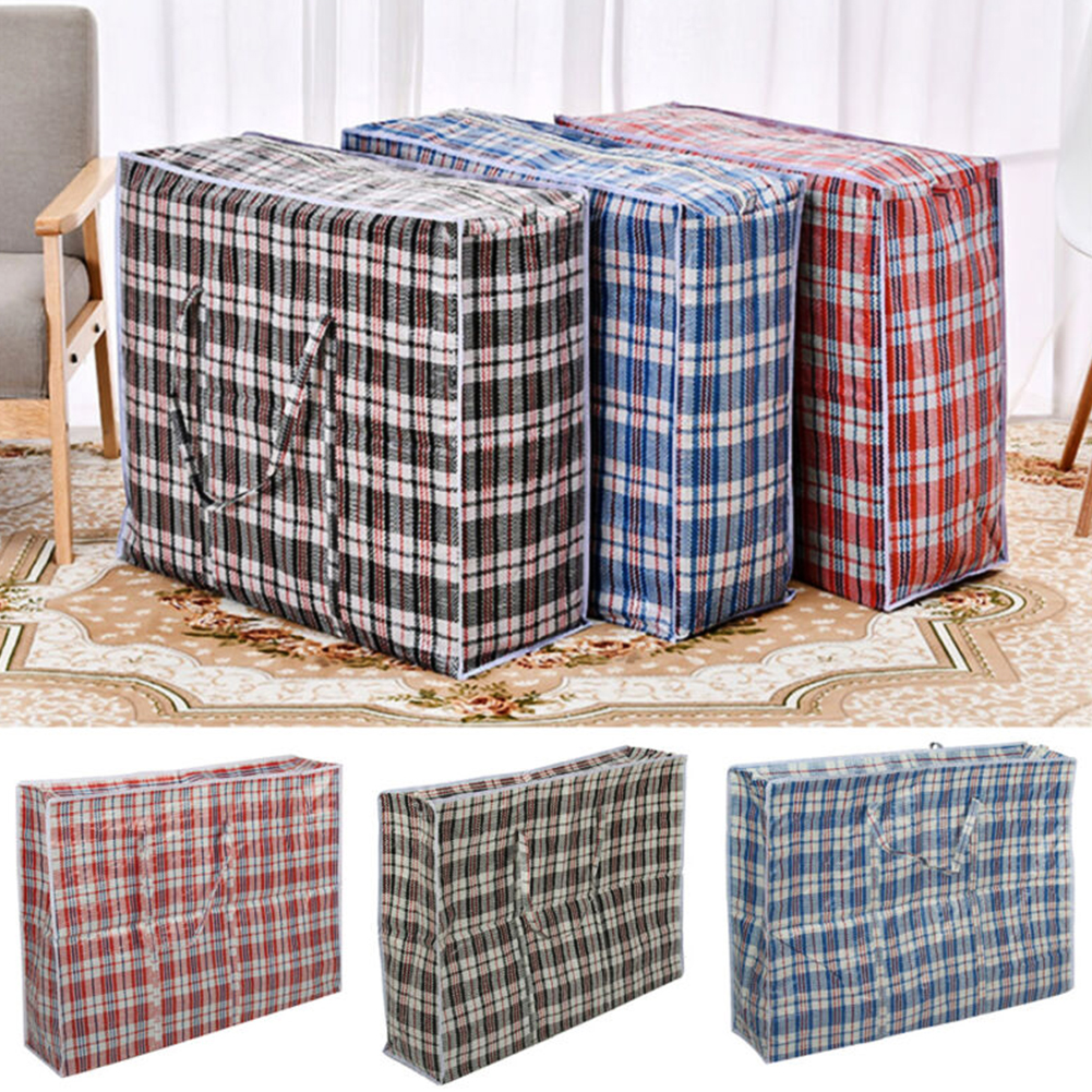 Waterproof Thicken Woven Zipped Storage Bag with Handle for Luggage 40X45X20CM