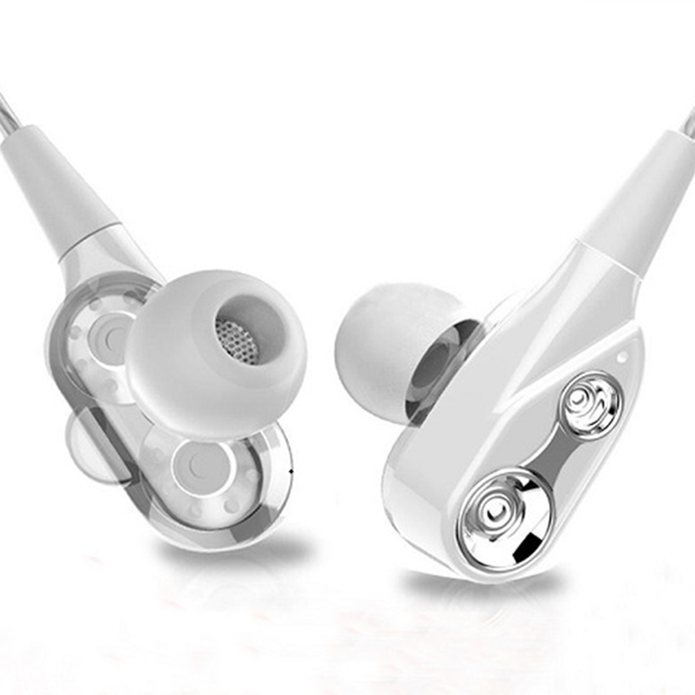 Universal Double Moving Coil Bass In-ear Headphones Double Speakers with Microphone for Mobile Phone white+silver