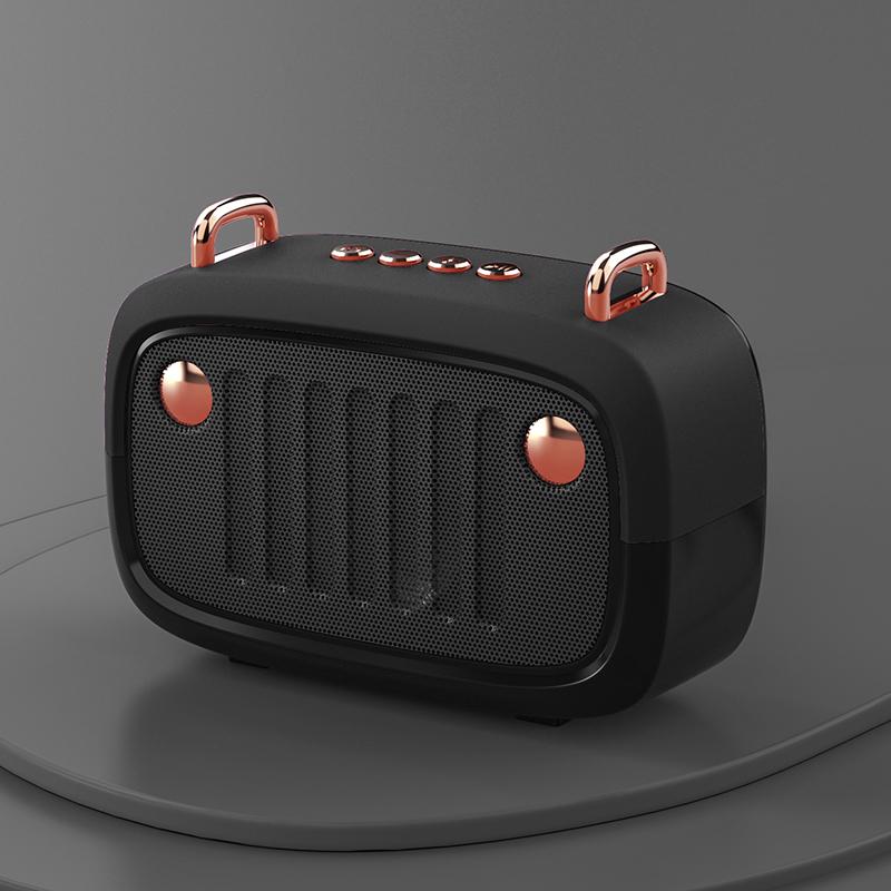 Wireless Bluetooth Speaker Cartoon Portable Insert Card Electroplate Speaker Black