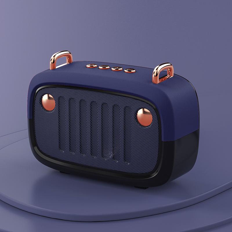 Wireless Bluetooth Speaker Cartoon Portable Insert Card Electroplate Speaker Blue