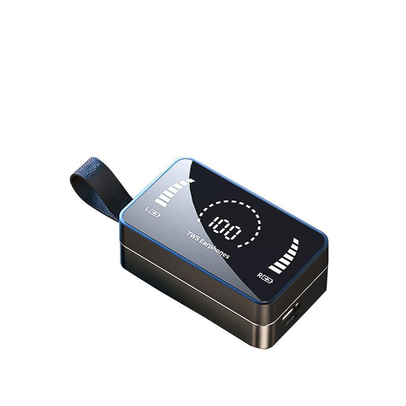 Wireless Bluetooth Headset H3 Mirror Metal Sports In-ear Smart Digital Display Earphones black