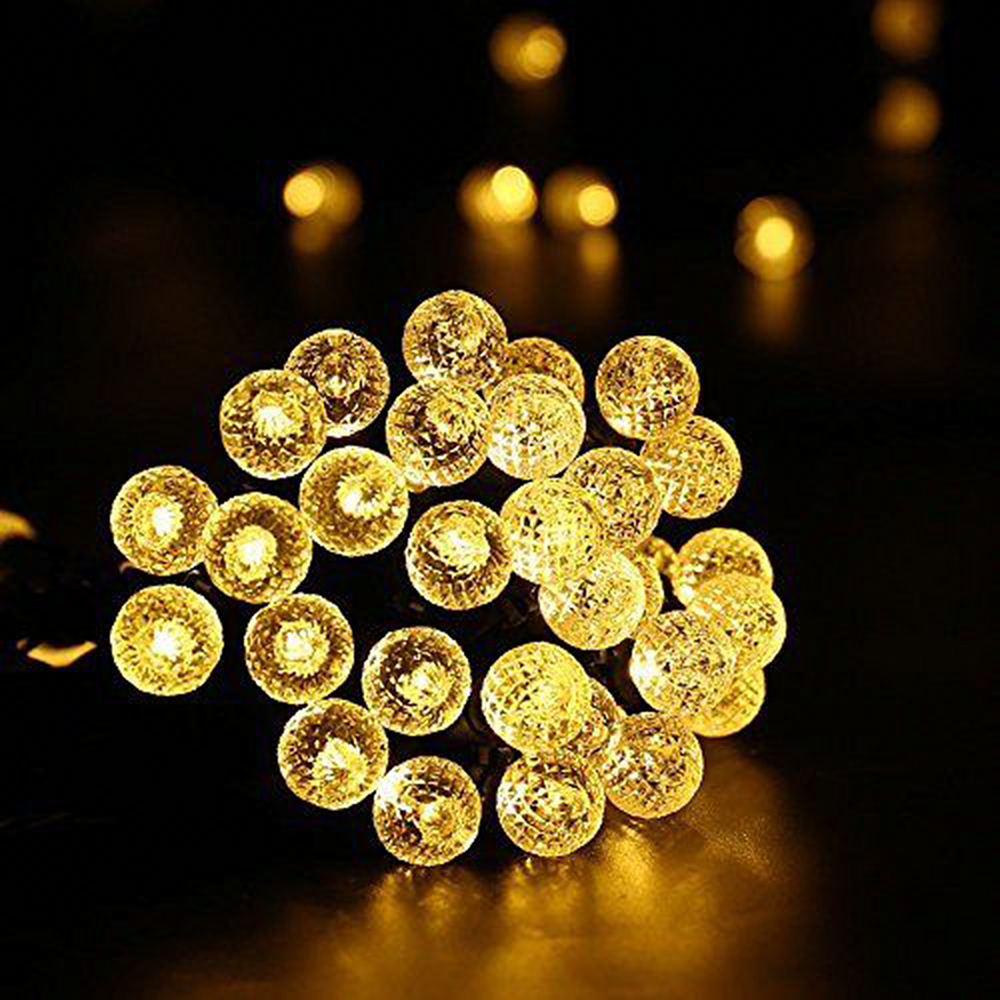 7M 50LEDs Diamond Bubble Designed Solar Powered String Light for Outdoor warm light_(ME0003102)