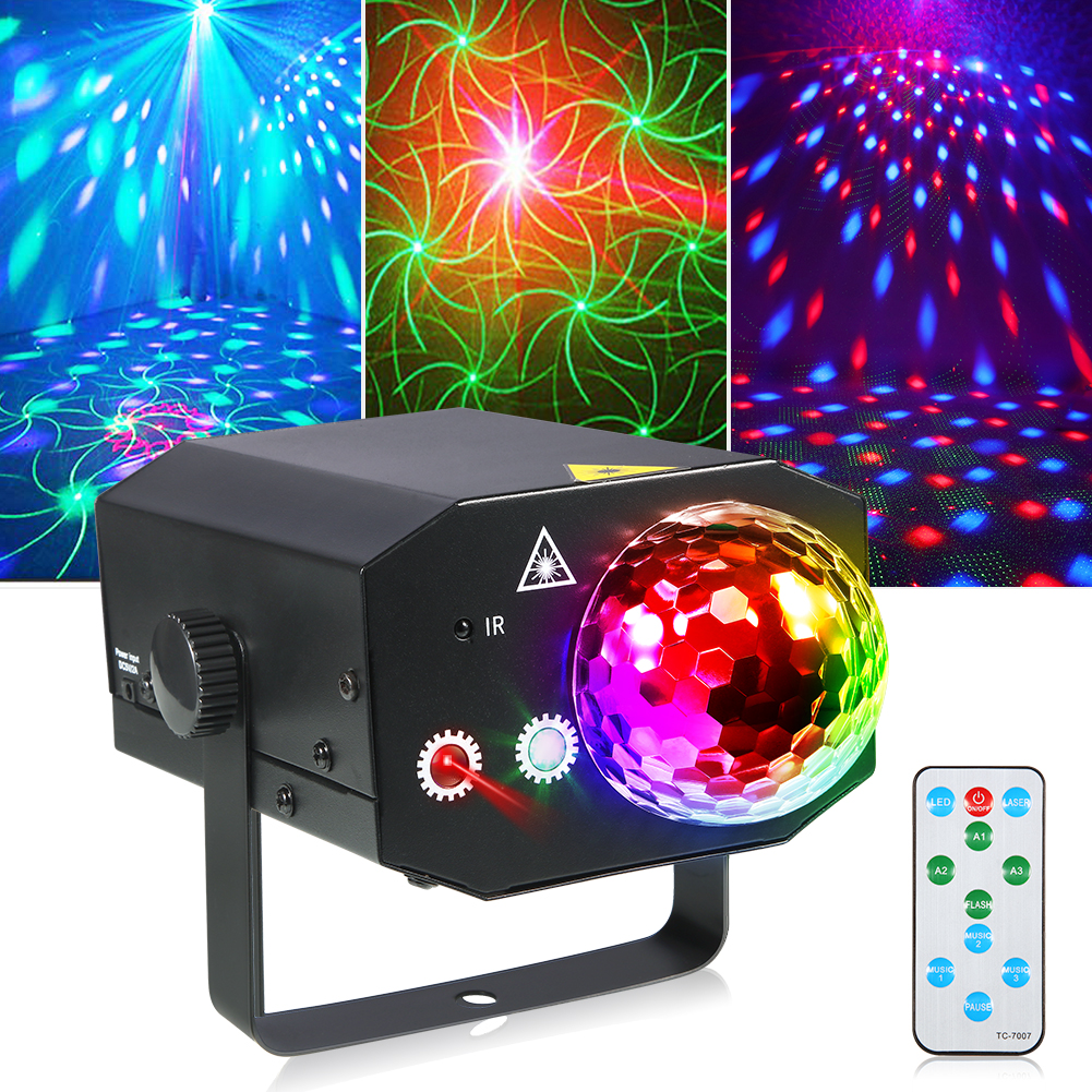 LITAKE LED Party Stage Light, Stage Light Projector Strobe lights Sound Activated Dj Disco Ball Lights with Remote Control for Club, Bar, Parties, Christmas, Birthday, etc
