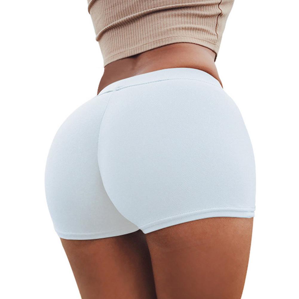 Women Boxer Elastic Sport Yoga Jogging Gym Exercise Tight Base Safety Boxer Shorts white_One size