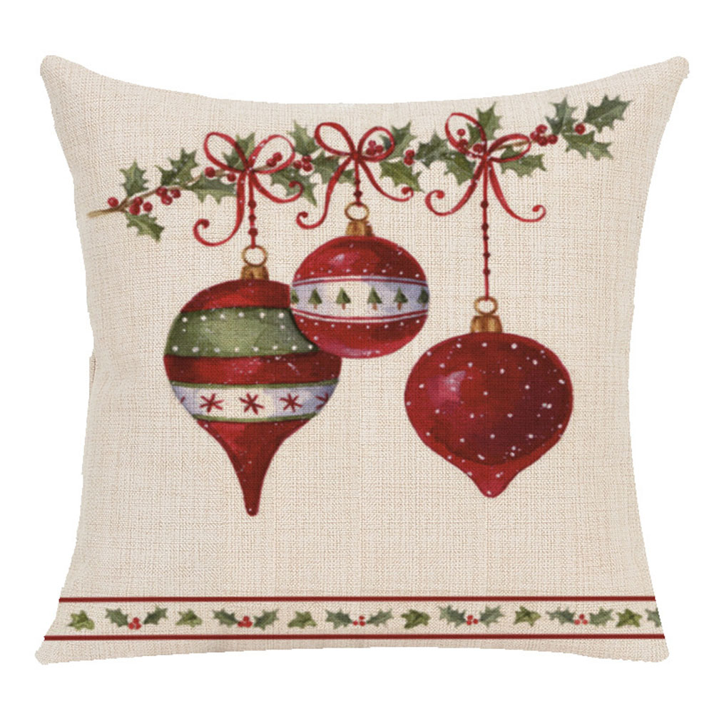 Christmas Series Cushion Cover Pillowcase Seat Sofa Pillow Cover Square Cushion Cover for Party Decoration G section _45X45cm