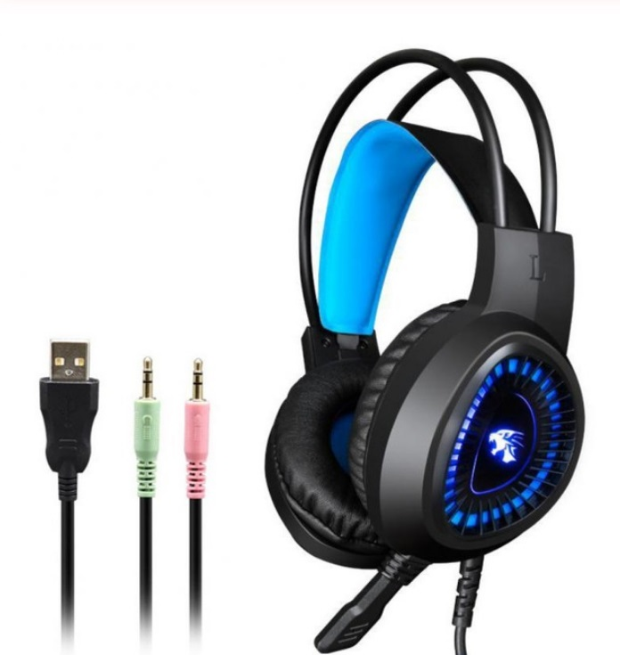 V1000 Headset Heavy Bass Internet Cafe E-sports Game Headphones Luminous 7.1 Channel USB/3.5MM Headset blue_3.5+USB interface