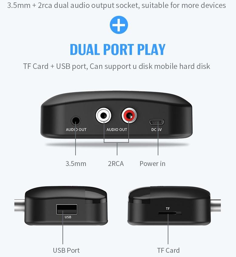 B20 Bluetooth Adapter NFC 5.0 Bluetooth Receiver AUX Jack USB Smart Audio Playback Wireless Stereo Adapter Car Speaker black