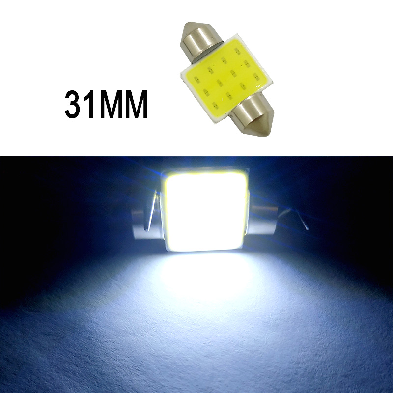 Car  Led  Reading  Light Double-pointed Cob Roof Light License Plate Light Carriage Light 31mm/36mm/39mm/41mm White light_31mm